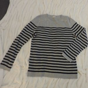 Talbots Striped Sweater with Button Detail Crew